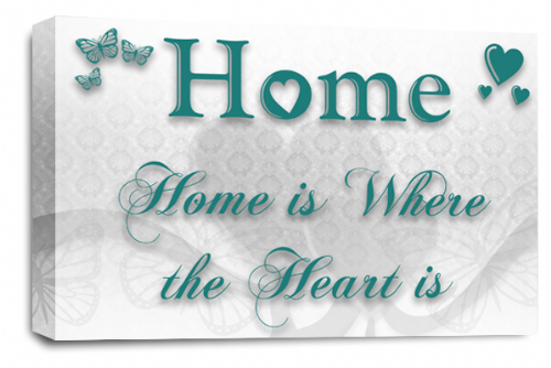 Home Quote Wall Art Picture White Teal Love Print